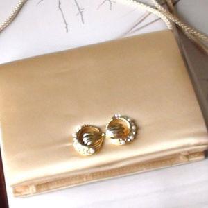 Purse Handbag Cream Color Rhinestones Bridal Prom